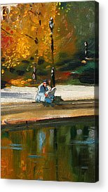 Reading The Paper Acrylic Prints