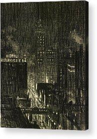 American City Scene Drawings Acrylic Prints
