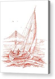 Bay Bridge Drawings Acrylic Prints