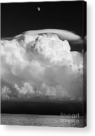Building A Mystery Supercel Lake Superior Moon Over Lake Superior Black Acrylic Prints