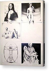 Michaelangelos David Drawings Acrylic Prints