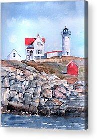 Nubble Lighthouse Paintings Acrylic Prints