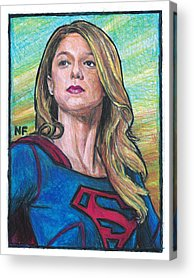 Supergirl Drawings Acrylic Prints
