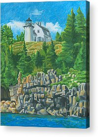 New England Lighthouse Drawings Acrylic Prints