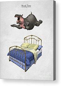 Hippopotamus Digital Art Acrylic Prints