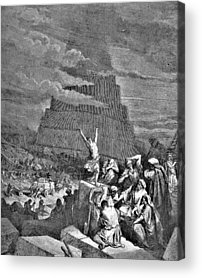 Tower Of Babel Gustave Dore Acrylic Prints