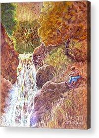 Autumn Scene Drawings Acrylic Prints