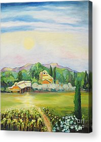 Moon Scene In Napa Paintings Acrylic Prints