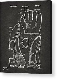Baseball Glove Drawings Acrylic Prints
