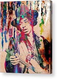 Rock N Roll Jimi Hendrix Music Acrylic Prints