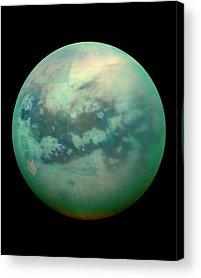 Titan Moon Of Saturn Acrylic Prints