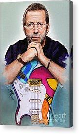 Eric Clapton Mixed Media Acrylic Prints