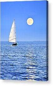 Blue Sailboats Acrylic Prints