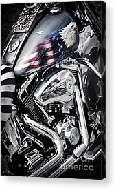 Harley Davidson Black And White Acrylic Prints