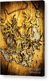 Gold Earrings Acrylic Prints