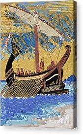 Sailboats Drawings Acrylic Prints