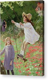 Child Swinging Paintings Acrylic Prints
