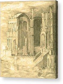 Atlantis Drawings Acrylic Prints