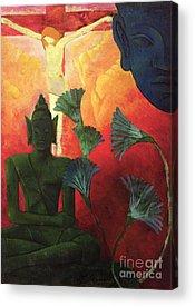 Le Christ Et Bouddha Acrylic Prints