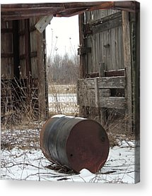 Barn And Rusted Barrel Acrylic Prints