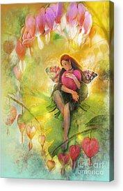 Fairy Hearts Pink Flower Digital Art Acrylic Prints