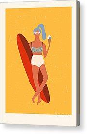 Surfer Girl Acrylic Prints