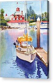 Yellow Sailboats Acrylic Prints