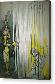 Angel Demon Cage Trapped Boots Caged Drawings Acrylic Prints