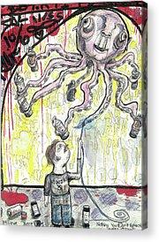 Cartoonist Mixed Media Acrylic Prints