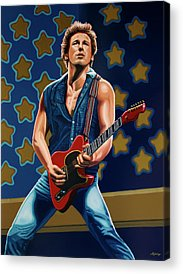 Bruce Springsteen Paintings Acrylic Prints