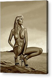 Nude Mixed Media Acrylic Prints