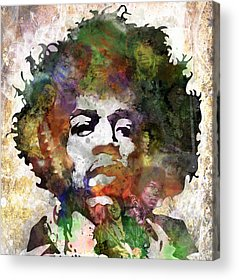 Rock And Roll Jimi Hendrix Music Acrylic Prints