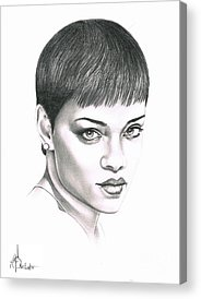 Rihanna Drawings Acrylic Prints