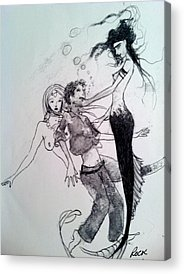 Mermaids Sailor Sketch Acrylic Prints