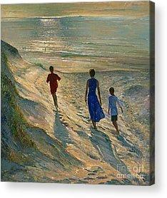 People Walking On Beach Acrylic Prints