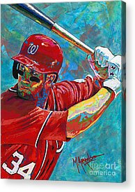 Right Fielder Paintings Acrylic Prints