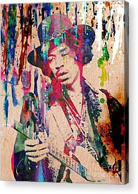 Art Rock N Roll Jimi Hendrix Acrylic Prints