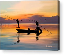 Fishing Digital Art Acrylic Prints