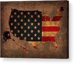 United States Of America Mixed Media Acrylic Prints