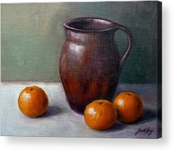 Still Life With Old Pottery Pitcher And Tangerines Acrylic Prints