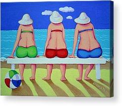 Fat Women On Beach Acrylic Prints