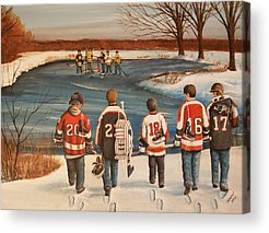 Minor Hockey Paintings Acrylic Prints