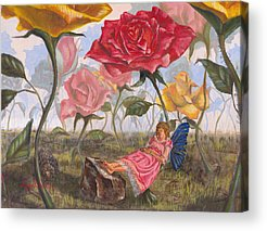 Flower Pink Fairy Child Acrylic Prints