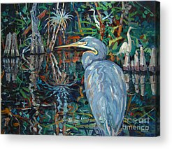 Blue Herron Paintings Acrylic Prints