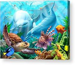 Whales Digital Art Acrylic Prints