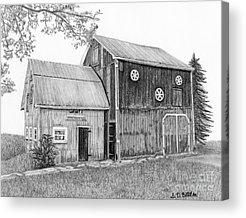 Old Barn Drawings Acrylic Prints