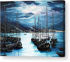 Yacht Paintings Acrylic Prints