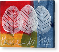 Red Leaves Mixed Media Acrylic Prints