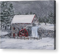Longfellow S Grist Mill Paintings Acrylic Prints