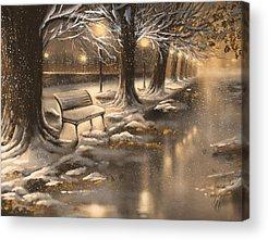 Snowy Night Paintings Acrylic Prints